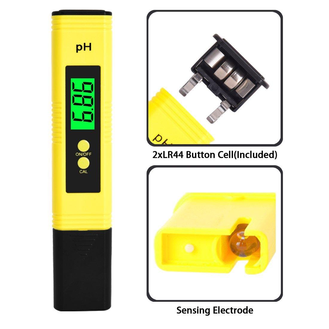 Medidor de pH digital, probador de alta precisión de calidad del agua con rango de medición de 0 – 14 pH para bebida doméstica, piscina y acuario, ...