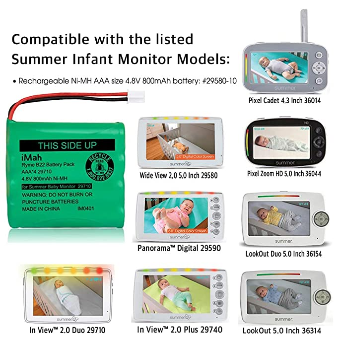 iMah Rechargeable Ni-MH AAA Size 4.8V 800mAh Battery 29580-10 29270-10 Compatible Summer Infant Wide View 2.0 Baby Video Monitor 29580 29590 29610 29620 29630 29710 29740 29790 29940 36014 36034