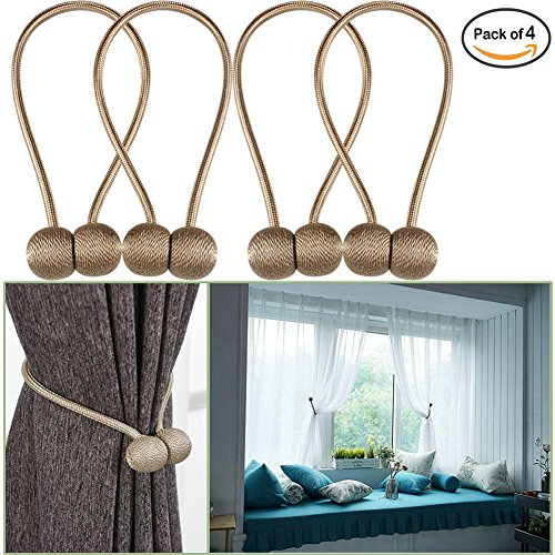 YIDIE 4 Pieces Curtain Tiebacks Classic European Window Holdbacks Home Office Decorative Drapes Holders with Strong Magnetic,Beige/2 Pair (Backs Tie Window)