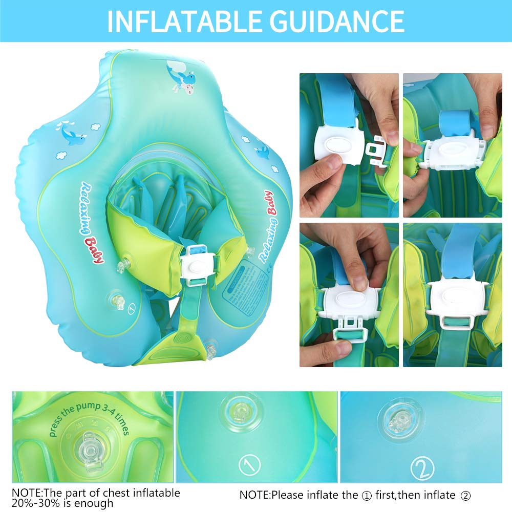Luchild Baby Swimming Float with Seat Child Floats Adjustable Waist Inflatable Ring for Infant with Manual Pump and Float Toys
