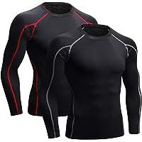 Niksa 2 Piezas Camisetas de Fitness Compresión Ropa Deportiva Manga Corta Hombre para Correr, Ejercicio,Gimnasio 1053