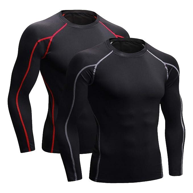 16c95c9cf7cab Niksa 2 Piezas Camisetas de Fitness Compresión Ropa Deportiva Manga Corta  Hombre para Correr