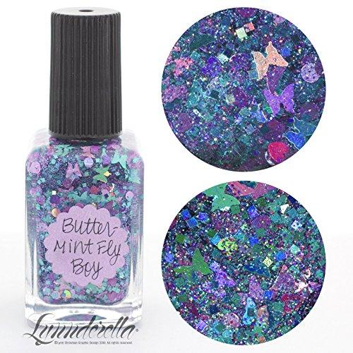 Lynnderella Limited Edition Multi Glitter Aqua Holographic Nail Polish-ButterMint Fly Boy