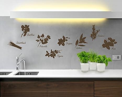 Wandtattoo Küche Kräuter in verschiedenen Größen und Farben (50 x 35 cm,  braun)