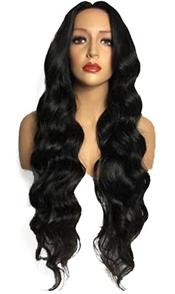 Amazon.com   Long Black Wavy Wigs Middle Parting Full Curly Natural Hair  for Black Women Party Cosplay Synthetic Fiber Wig+Free Wig Cap from Anermy  Black   ... 5cc88593e