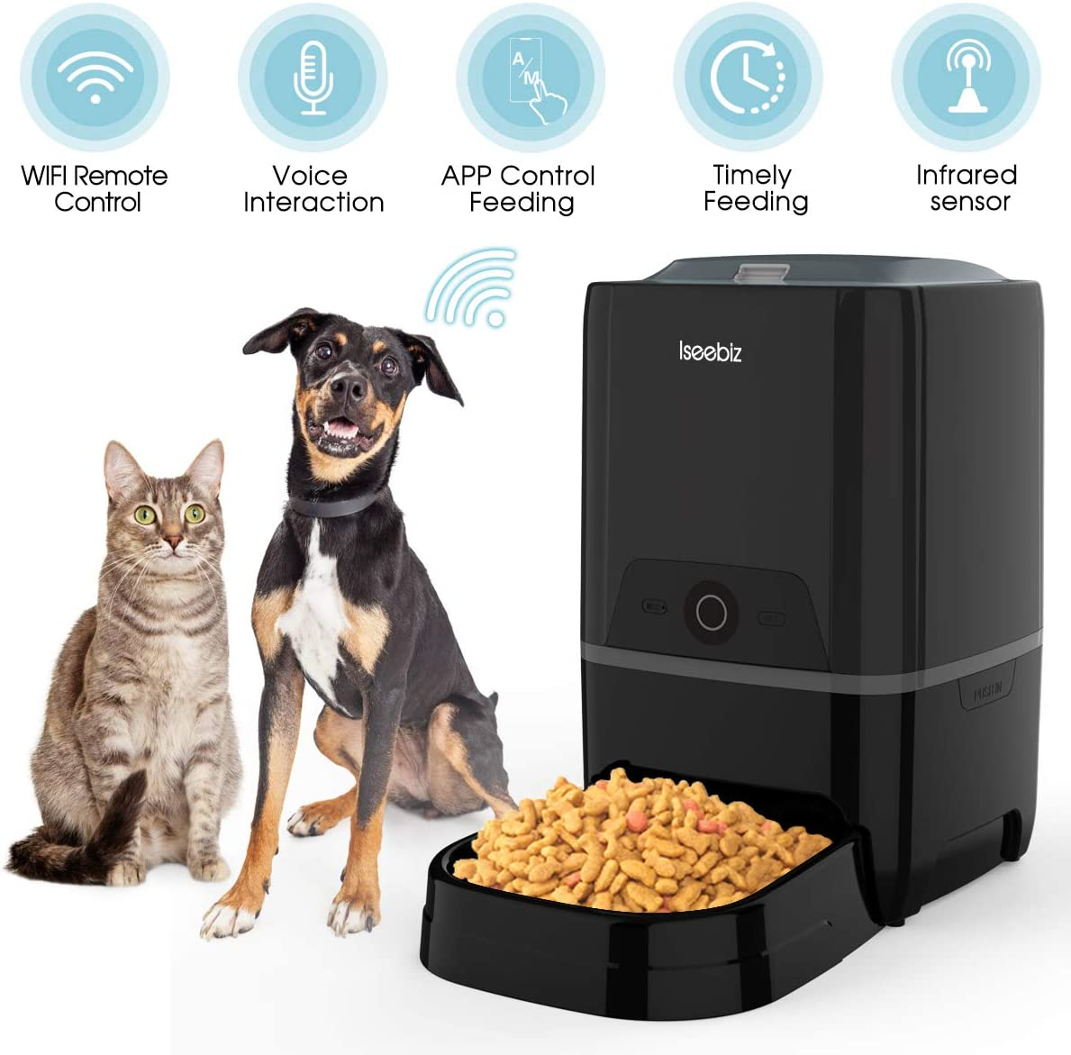 Iseebiz Automatic Cat Feeder 5L Smart Feeder Pet Food Dispenser App Control,Voice Recording,Timer Programmable, Portion Control, IR Detect, 8 Meals Per Day for Pet