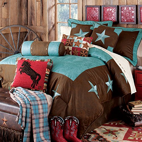 Colors of Rainbow Turquoise Star, Lone Star, Western Bedding Set, King -