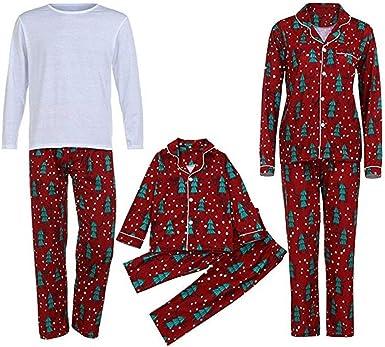 Xingsiyue Familia a Juego Pijamas, 2PCS Navidad Ropa de Dormir Unisex Pijamas de Conjunto Manga Larga Camisa y Pantalones