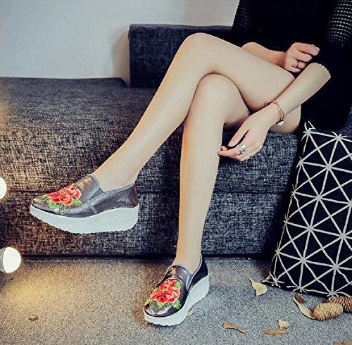Lazutom - Sandalias de vestir de cuero sintético para mujer gris