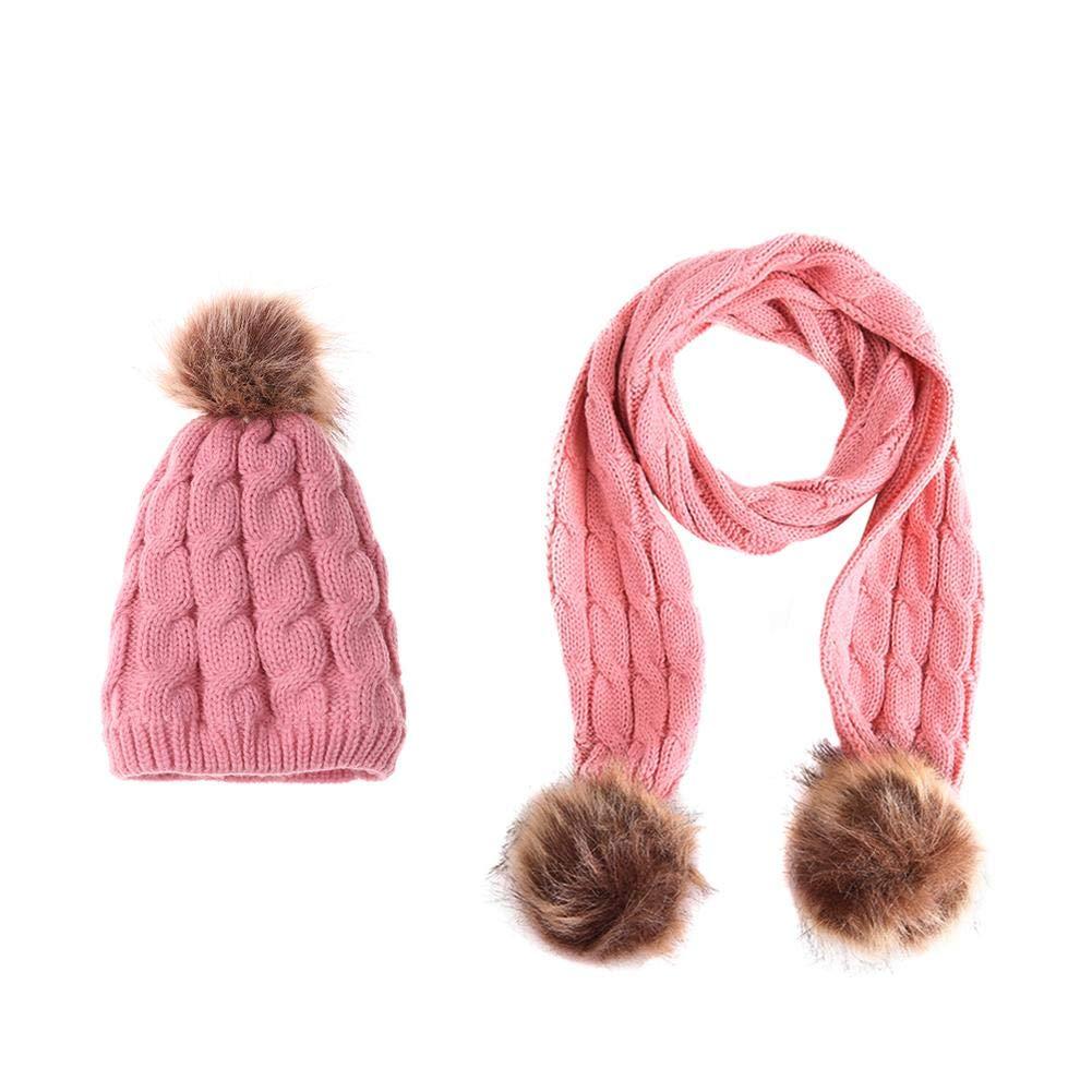 2pcs/set Children Girls Cute Warm Pompom Casual Twist Hats Scarf