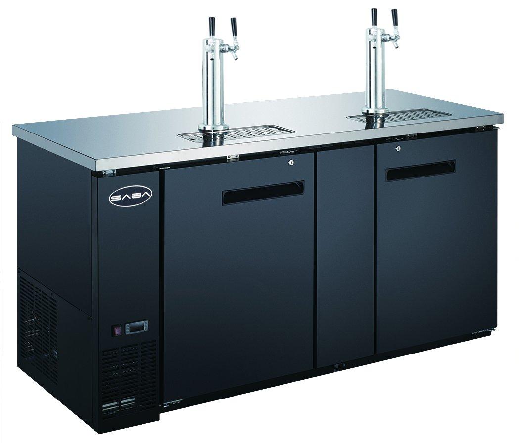 SABA 69'' Two Door Draft Beer Dispenser with 2 Tap Towers