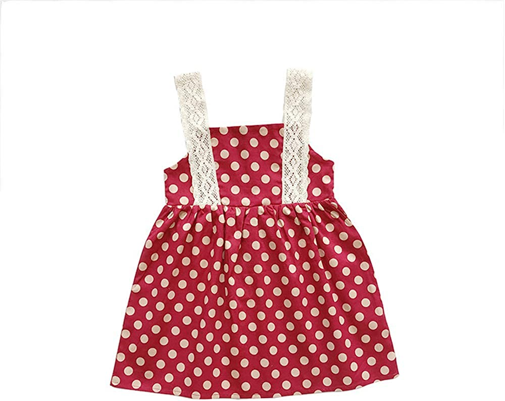 Chickwin Vestido para Niñas Verano 3-7 Años, Tirantes Punto de Ola Conjunto Infantil Niña 100% Algodón Ropa Bebé Recién Nacido Infantil Casual Manga Corta Vestidos Bebe Niña Regalo