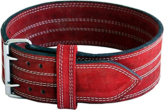Ader Leather Power Lifting Weight Belt- 4 Red