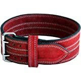 "Ader Leather Power Lifting Weight Belt- 4"" Red"
