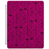 Custom Smart Cover (Magnetic) for Apple iPad 2 / 3 / 4 - Neon Pink Black Floral Pattern