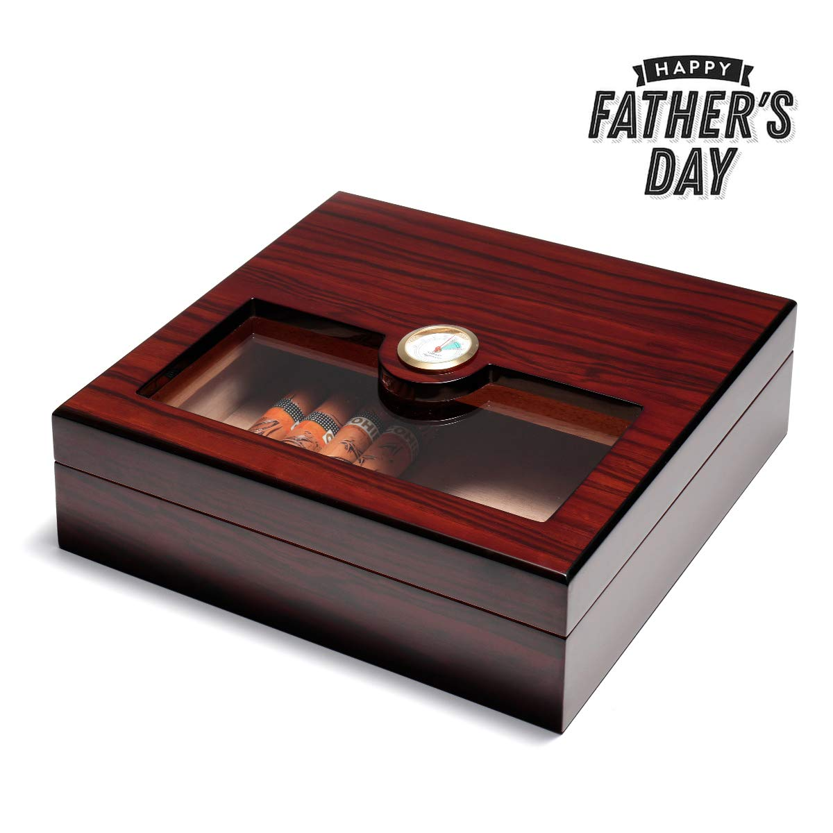 Woodronic Glasstop Cigar Humidor, Rosewood with Spanish Cedar Wood Lined for 25 Cigars, Perfect Desktop Display Cigar Box Set with Hygrometer and Humidifier, H-5027RW