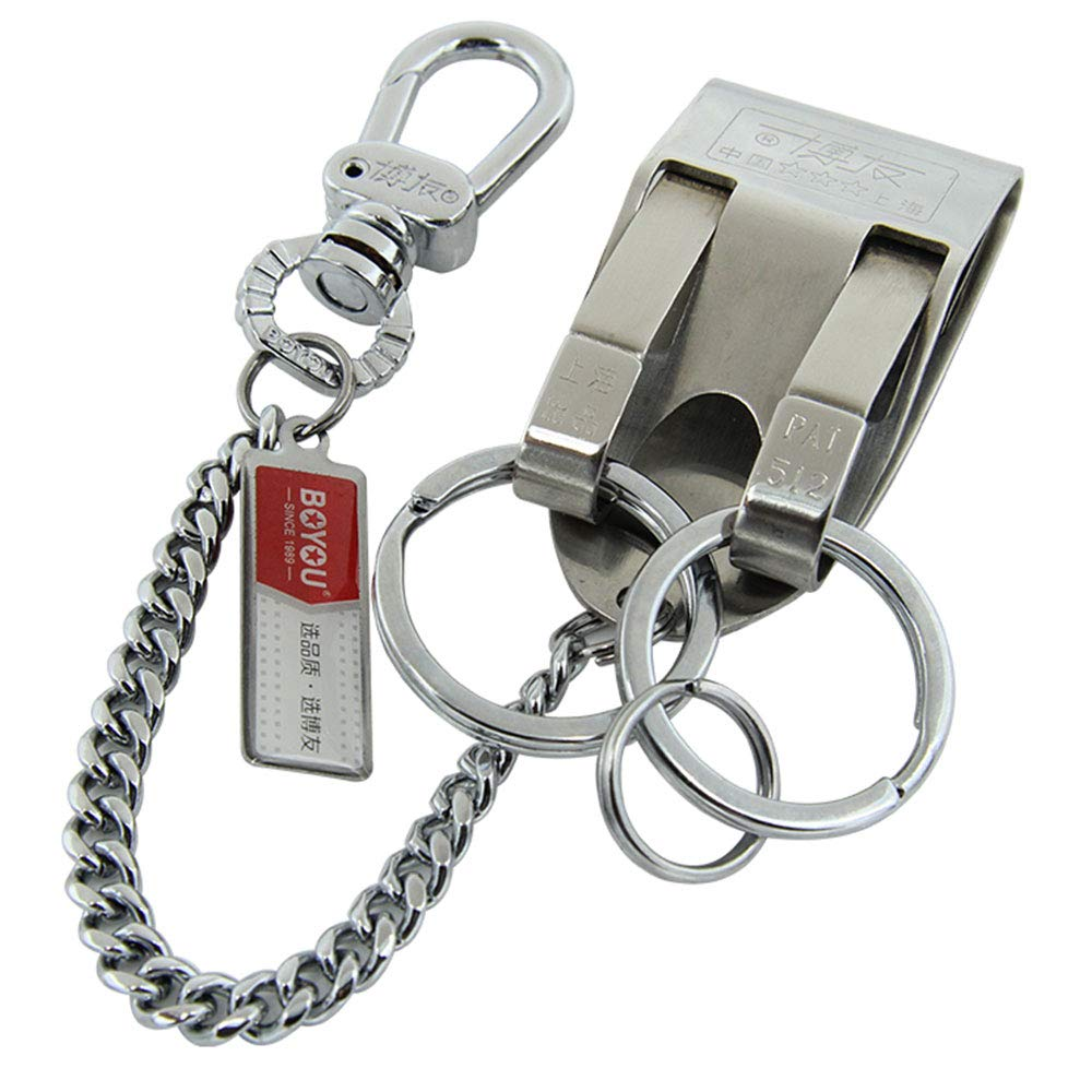 Stainless Steel Keyring Security Belt Clip Key Chain Useful Keychain