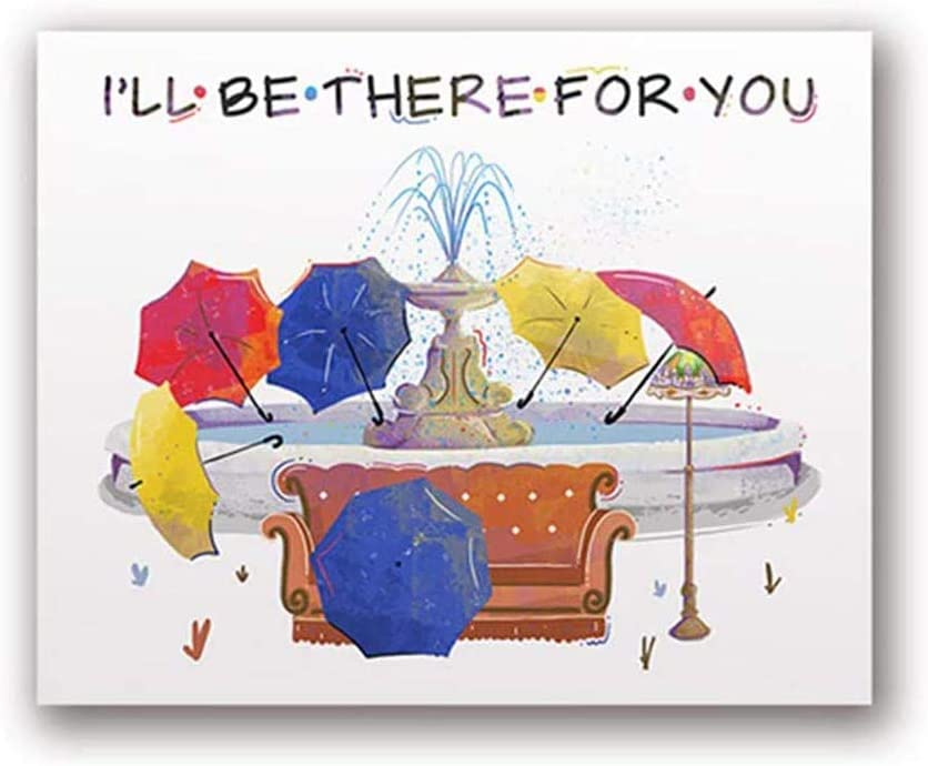 I'll Be There for You Canvas Wall Art for TV Show Friends Watercolor Art Poster on Canvas for Home Decor Living Room Bedroom Unframed 24x32 inches