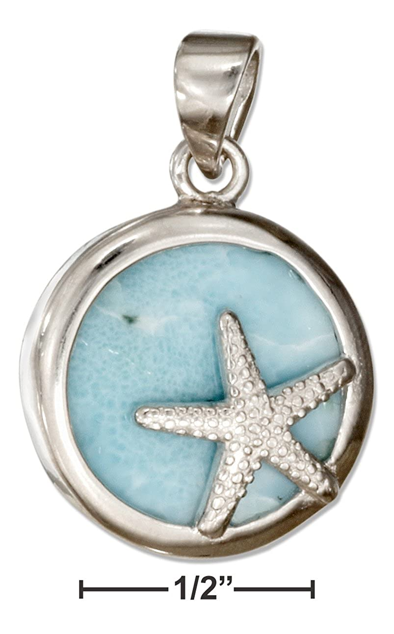 Sterling Silver Round Larimar Pendant with Starfish