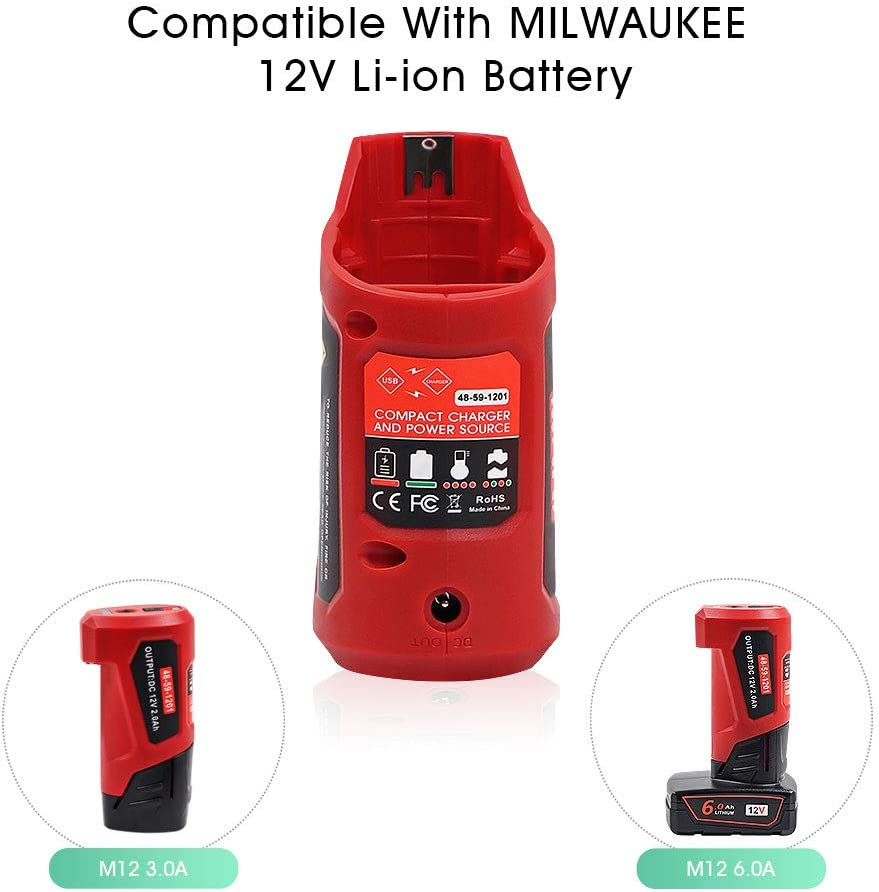 Tenhutt 12V USB Power Source Replacement For Milwaukee M12 12V Lithium-Ion Battery Charger Adapter Compatible with Milwaukee Heated Jacket 45-59-1201 USB Charger