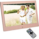 Digital Photo Frame 10 Inch 1024x600 High Resolution Screen Metal Digital Picture Frame with 16GB and IR Remoter - Rose Gold Metal Case Cover