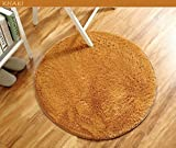 Cheap HANYUN Super Soft Modern Living Room Bedroom Anti-skid Shag Silky Smooth Area Rug Carpet Round (Diamater 4Feet/1.2m – Khaki)