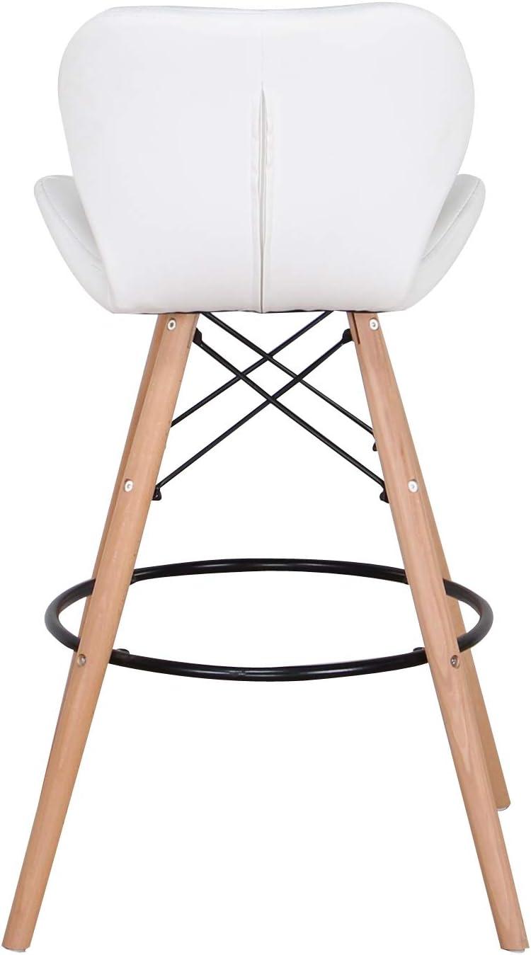 Tabouret Haut avec Pied en h/être en Cuir Artificiel pour Chaise de Salle /à Manger tabourets de Bar de Style Nordique Chaise de Cuisine Ouverte caf/é et Bar N // A Lot de 2 tabourets de Bar Noir