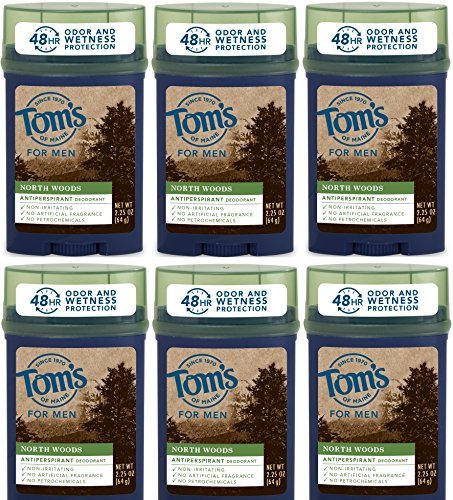 Price comparison product image Tom's of Maine North Woods Men's 48-Hour Antiperspirant Deodorant, 2.25 Ounce, 6 Count