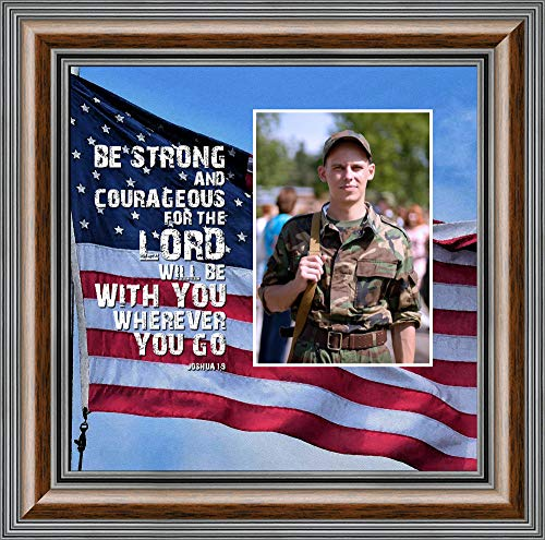 Personally Yours Be Strong and Courageous, Biblical Military Gift, American Flag Picture Frame, 10x10 6341W