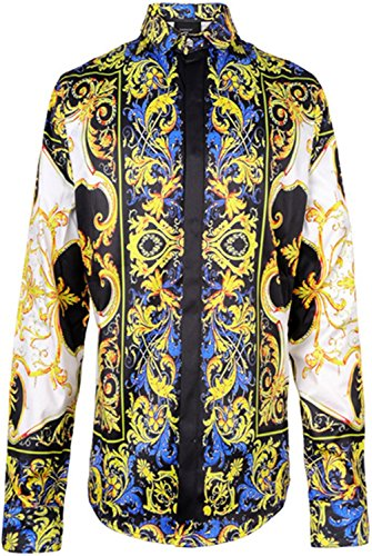 PIZOFF Mens Hipster Long Sleeve Luxury Design Golden Strips Colorful Flowers Floral Print Button Down Dress Shirt Y1706-28-XXL