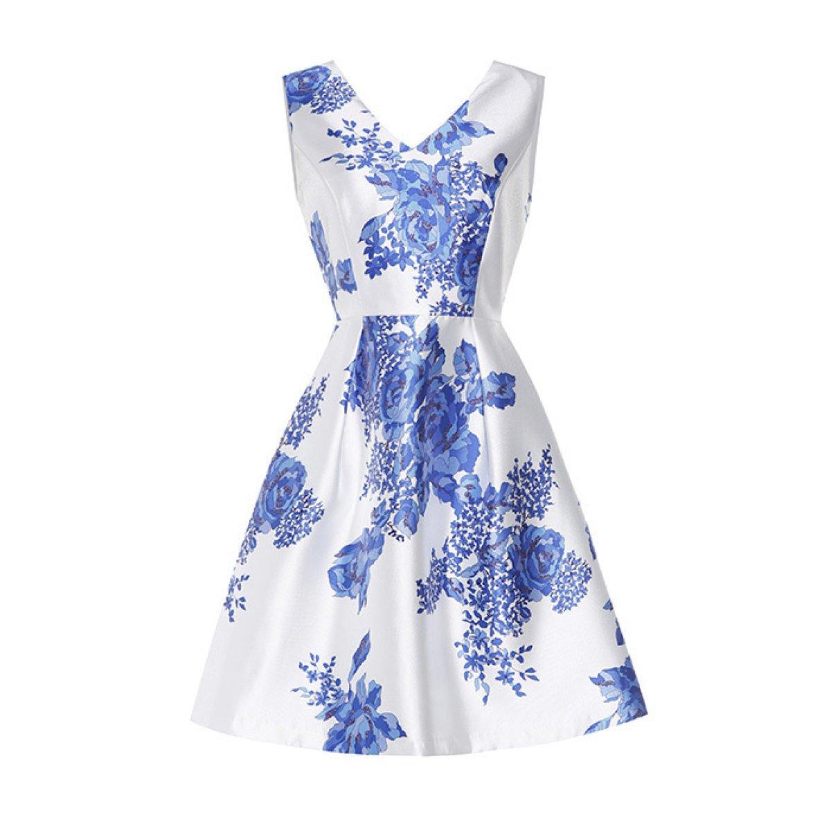 China Palaeowind Women 's Spring And Summer Fashion V - Neck Print Dress Dress Skirt,Blue-XL