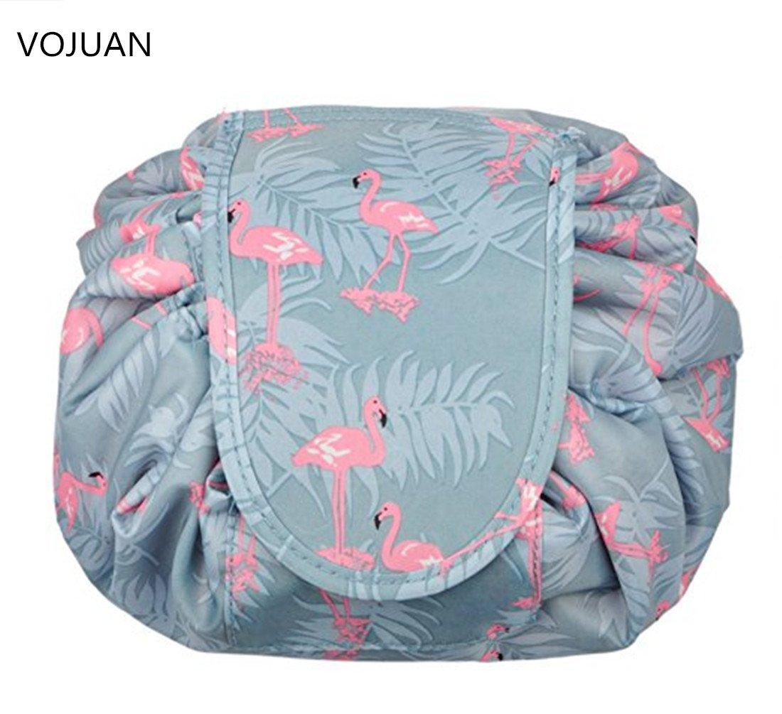 Fashion Cosmetic Bag Large Capacity Lazy Makeup Toiletry Bag Multifunction Storage Portable Quick Pack Waterproof Travel Bag (Flamingo)