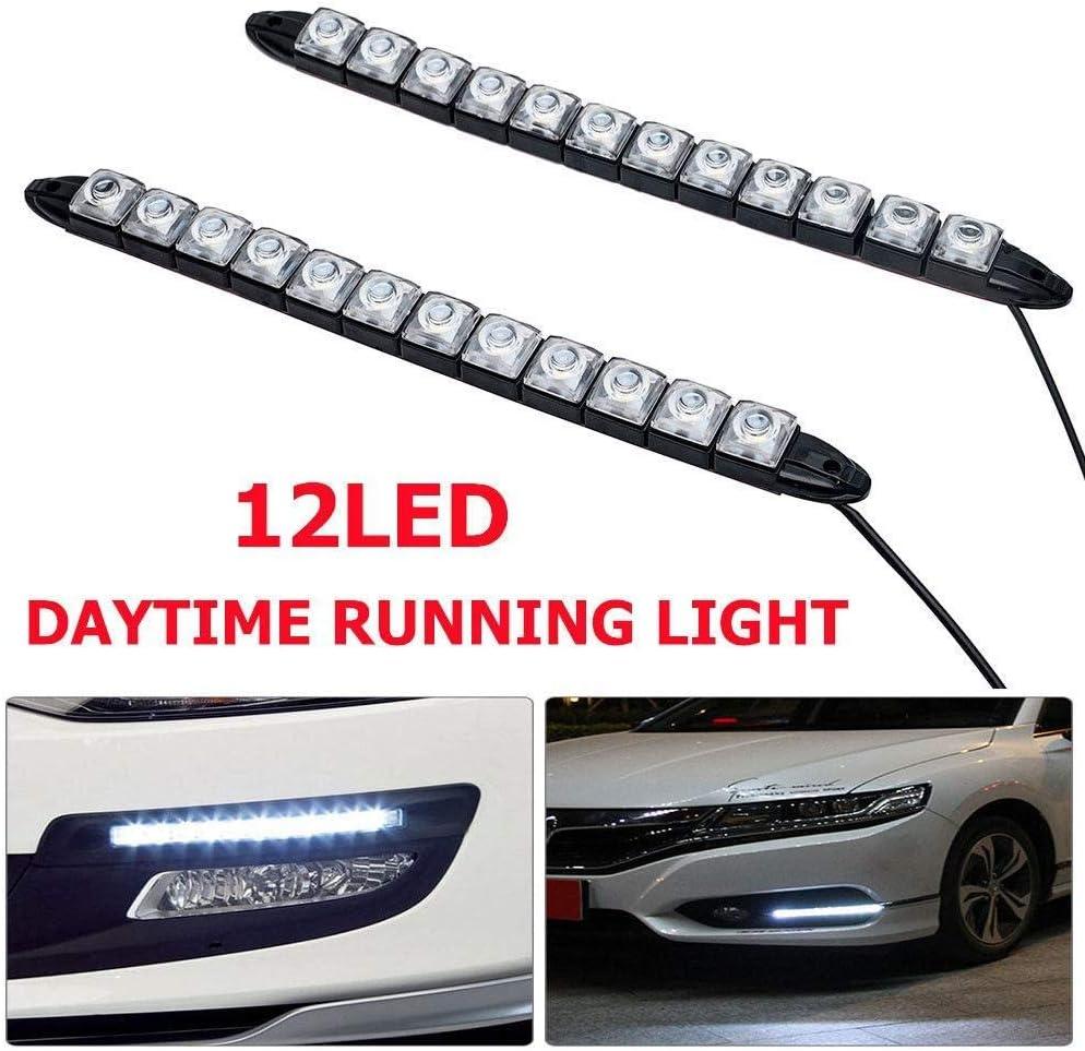 SUNWAN 2X 12LED Daytime Running Lights Car DRL Daylight Fog Lamp Waterproof 12V Driving Head Lights White-12LED