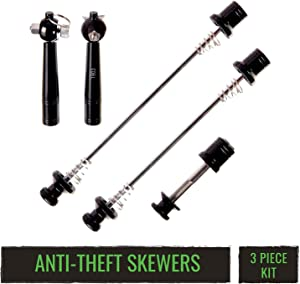 evo Quick Release Skewer Set, 3 Piece Anti-Theft Locking Skewers with Key