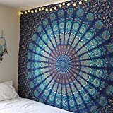 Popular Indian Hippie Tapestry Mandala Wall Hanging Blue Bohemian Decor Psychedelic Intricate Floral Flower Wall Decor Beach Throw Bedspread Tapestries for Bedroom (82.6 x 59 inch, Navy Blue Green)