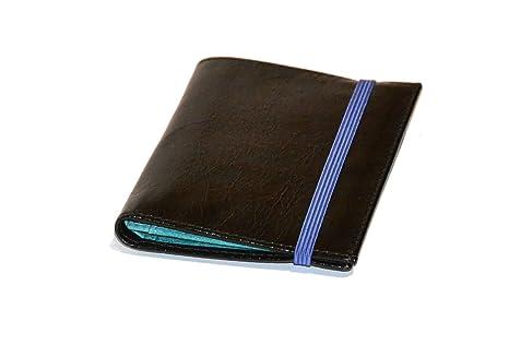 PIAMONTE, 933 classics, cartera piel negra y azul turquesa con goma