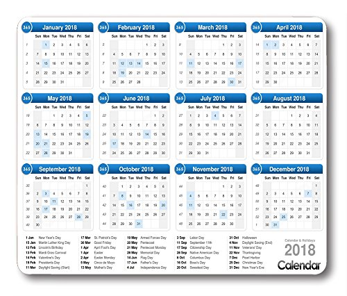 Smooffly Gaming Mouse Pad Custom,2018 calendar mouse pad with holidays Non-slip Thick Rubber Large Mousepad Mat