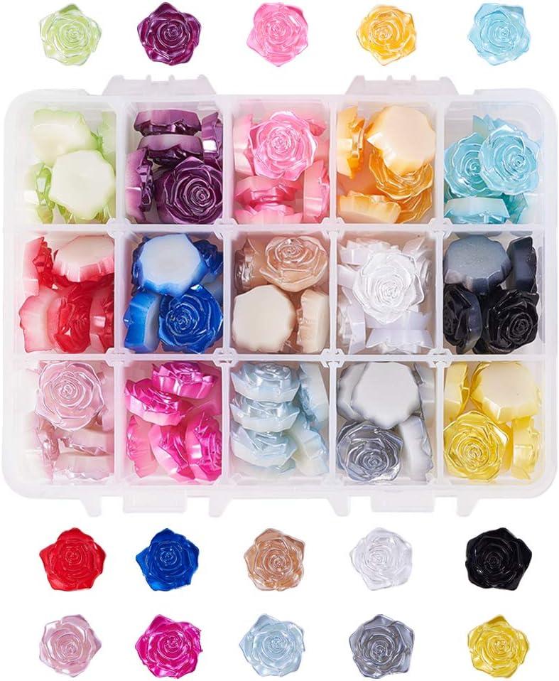 PandaHall 105 cuentas de resina con diseño de rosas planas, 17,5 mm, colores variados al azar, decoración floral sin perforar, para funda de teléfono, álbumes de recortes, joyería