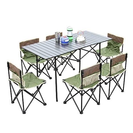 MDBYMX Mesa de Camping Plegable Mesa y sillas Plegables ...