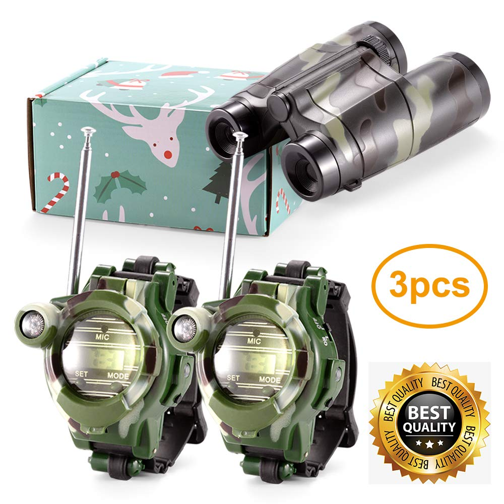 Petask Kids Walkie Talkies and Binoculars for Kids - Outdoor Toys Two-Way Radios Walky Talky for Children, Cool Outdoor Walkie Talkie Kit for Boys and Girls + Kids Binoculars, Camouflage by Petask (Image #1)