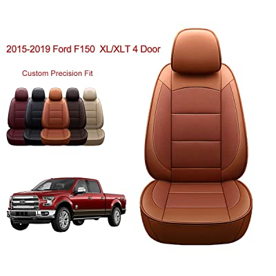 OASIS AUTO | 2015-2020 F150 Truck | 2020-2020 F250 F350 |Custom Fit PU Leather Seat Covers Full Set Compatible with Ford F-150 F-250 F-350 XL XLT Lariat Limited Platinum Pick up (Black): Automotive