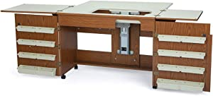 Arrow 700 Bertha Sewing Cabinet for Sturdy Sewing, Cutting, Quilting, Crafting, Portable with Wheels, Airlift, and Storage, Oak Finish