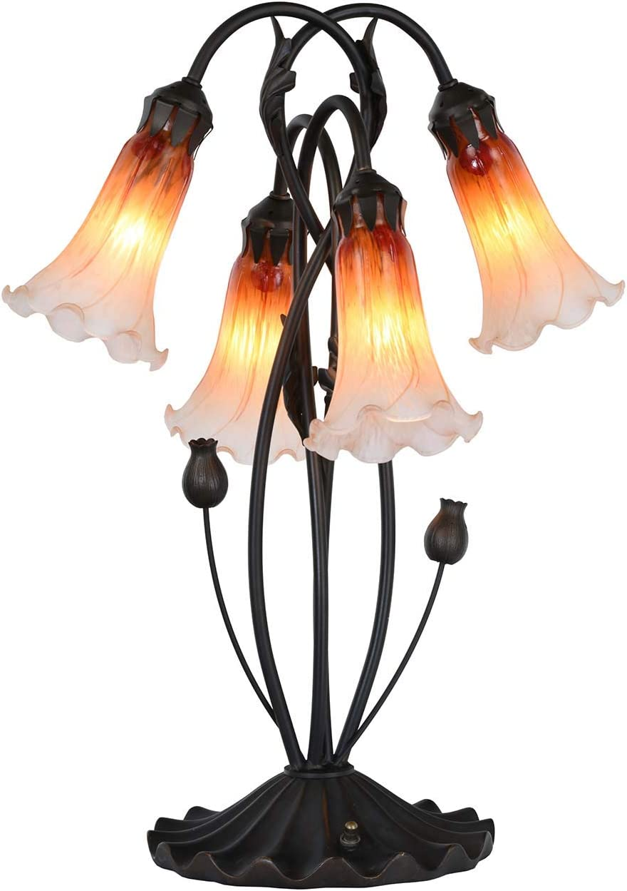 Bieye L10699 Lily Flowers Tiffany Style Stained Glass Accent Table Lamp Night Light with 4 Inch Wide Blown Glass Shade for Bedside Living Room Bedroom, 4 Lights, Orange