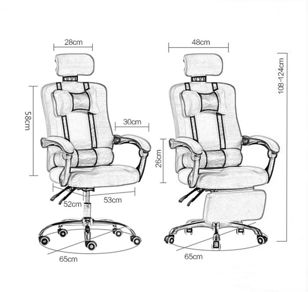 JIEER-C Ergonomisk stol skrivbordsstolar dator kontor svängbar hem uppgift nät hög rygg ergonomiskt justerbar reumbent mobil dubbel kudde aluminiumlegering fot Röd