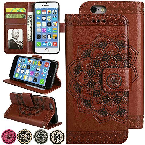 Slim Wallet Kickstand for Video iPhone 6s Plus/iPhone 6 Plus Case Luxury Flip Magnetic Leather Back with Card Solts Holder Phone Cover for iPhone6 Plus and iPhone6s Plus Cases [5.5'', Brown] (For Iphone6 Plus Phone Covers)