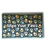 Colored Raised Wipe Your Paws Pet Dog Doormat Debris Catcher Welcome Mat Rubber Backed Gray IR