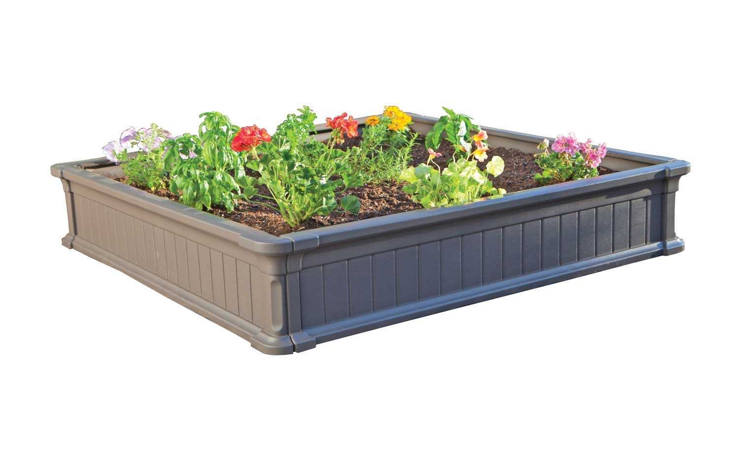 amazoncom lifetime 60069 raised garden bed kit 4 by 4 feet pack of 3 garden border edging garden outdoor - Garden Bed