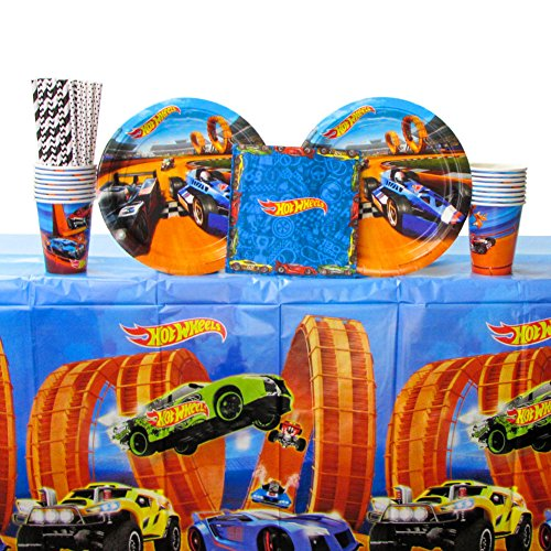 Cedar Crate Market Hot Wheels Wild Racer Party Supplies Pack for 16 Guests - Straws, Lunch Plates, Luncheon Napkins, Cups, and Table Cover
