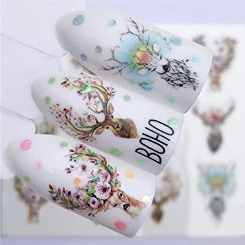 Nail Designs For Christmas 2019.2019 10pcs Set New Designs Wolf Deer Flamingo Nail Art Water Decals Transfer Sticker Manicure