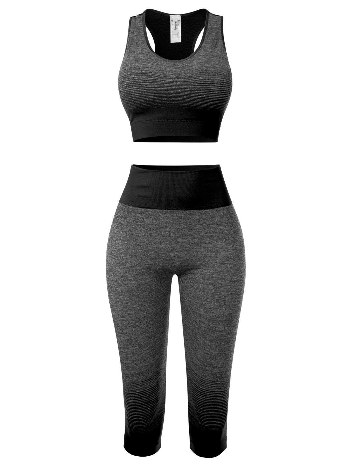 MixMatchy Women's Two-Piece Sports Bra + Capri Leggings Gym Yoga Wear Set Black ONE by MixMatchy